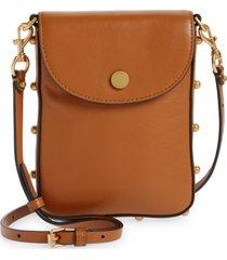 rebecca minkoff envelope leather phone crossbody bag - brown