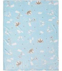 cobertor papi microfibra raposa azul - azul - menino - dafiti