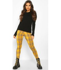 tartan flannel basic jersey leggings, mustard
