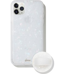 sonix pearl tort iphone 11 pro max case & slide silicone phone ring - white