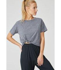 amaro feminino camiseta nó, cinza mescla