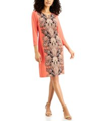 jm collection 3/4-sleeve printed dress, created for macy's