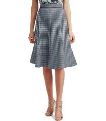 michael kors women's tattersall stretch-wool midi skirt - midnight - size 2