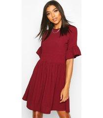 tall ribbed frill sleeve smock dress, berry