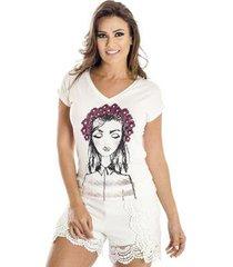 camiseta flores ana hickmann feminina