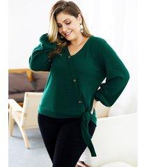 plus talla verde prendas de punto con cuello en v y mangas largas anudadas