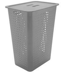 cesta de roupas com tampa organizar 47 litros chumbo