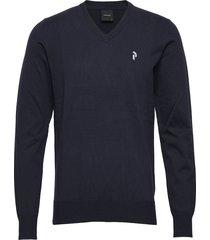 m classic v-neck stickad tröja v-krage blå peak performance