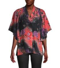 evin floral silk blouse