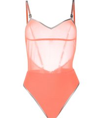 heron preston sheer-panel one-piece swimsuit - orange