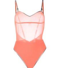 heron preston sheer-panel one-piece swimsuit - orange