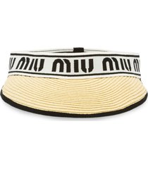 miu miu straw visor with logo - neutrals