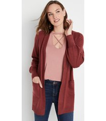 maurices womens solid blouson sleeve front pocket cardigan red