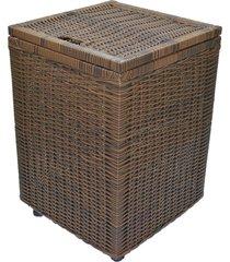 cesto roupa suja roupeiro fibra sintetica junco argila 40x40x57