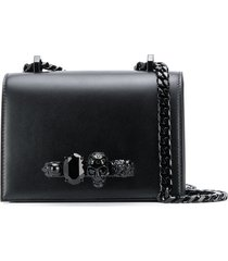 alexander mcqueen skull knuckle duster crossbody bag - black