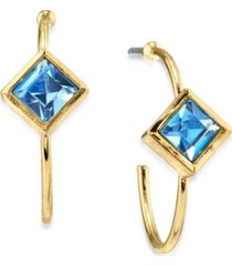 2028 14k gold dipped diamond shape crystal open hoop stainless steel post small earrings