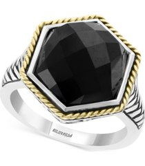 effy onyx (12 x 14-1/2mm) two-tone statement ring in sterling silver & 18k gold-plate