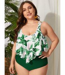 traje de baño sin mangas con estampado floral y cuello redondo de talla grande