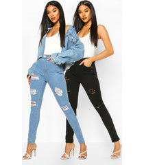 2 pack high rise distressed skinny jeans, multi