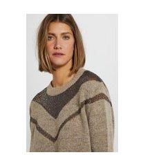 blusa de tricot manga longa decote com transparência camel maple