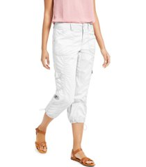 style & co petite cargo capri pants, created for macy's