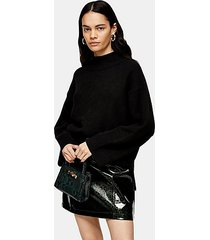 black central seam knitted sweater - black
