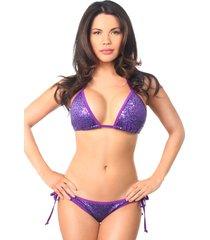 purple sequin pucker back bikini