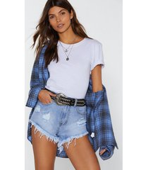 womens don't distress about it denim shorts - blue