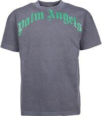 palm angels t-shirt vintage wash curved logo