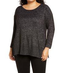 plus size women's bobeau cozy marled pullover tunic, size 3x - black