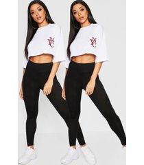 basic jersey legging 2 stuks, zwart