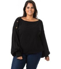 blusa confidencial extra plus size bufante feminina - feminino