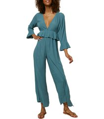 women's o'neill plunge neck crop jumpsuit, size x-large - green