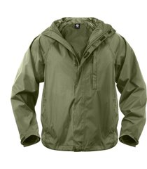 olive green packable boy scout camping hiking survival compact raincoat jacket