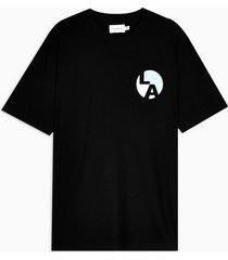 mens black la circle t-shirt with organic cotton