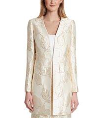 tahari asl metallic floral jacquard open-front topper jacket
