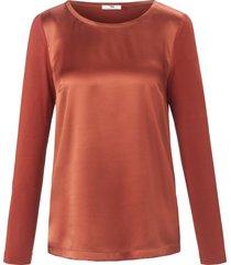 blouseshirt met lange mouwen van peter hahn bruin