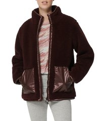 marc new york performance women's mixed media faux shearling jacket - burgundy - size m