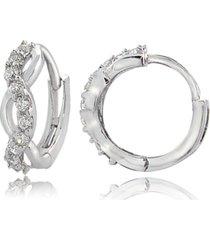 cubic zirconia wrap huggie hoop earrings in sterling silver