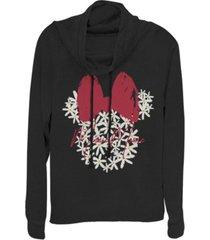 fifth sun women's disney mickey classic floral minnie fleece cowl neck sweatshirt
