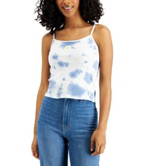 almost famous juniors' tie-dyed butterfly-patch top