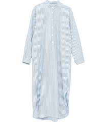 ankle length sleep shirt sapporo cotton linen stripe