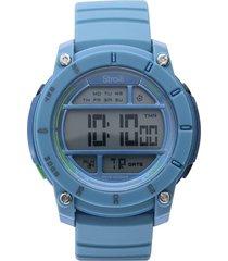 orologio multifunzione con cinturino in silicone azzurro cassa in acciaio per uomo