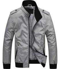 chaquetas hombre casuales ajustada cuello alto 728 gris
