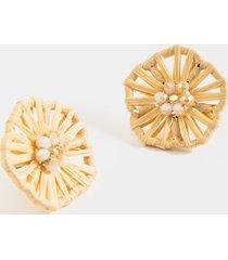 women's jenna rattan pearl stud earrings in natural by francesca's - size: one size