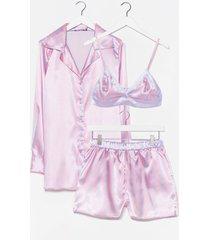 womens satin striped print 3 pc pajama shorts set - purple