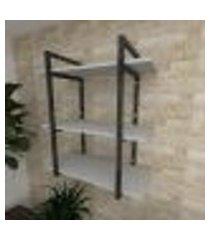prateleira industrial para sala aço cor preto prateleiras 30 cm cor cinza modelo ind09csl