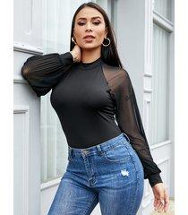 yoins black button keyhole design round neck mesh bodysuit