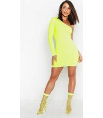 neon rib one shoulder bodycon dress, neon-yellow