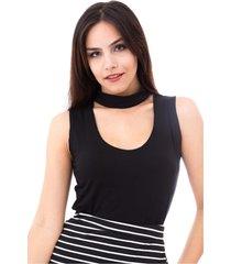 blusa moda vício regata gola alta com decote preta